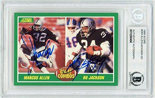 (Marcus Allen Bo Jackson 1989 Score Football Great Combos Autograph Card #284 - BAS)