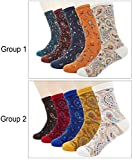Women Lady's 5 Pair Bohemian Vintage Style Cotton Crew Socks,Multi Color
