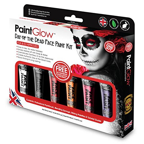 PaintGlow, Day of the Dead Face Paint Kit with brush sponge and 6 colours]()