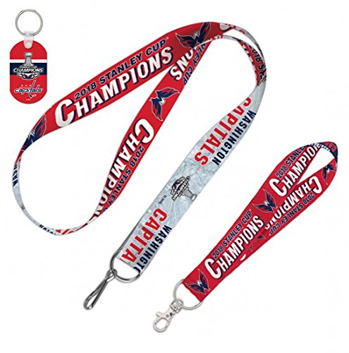 WinCraft Bundle 3 Items: NHL Washington Capitals 2018 Stanley Cup Champions Lanyard & Aluminum Key Ring & Key Strap