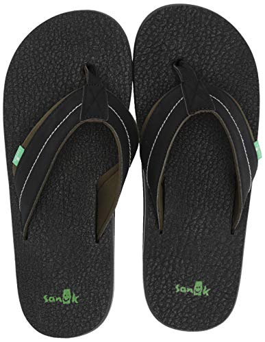 Sanuk Men's Beer Cozy 2 Flip-Flop, Black/Dark Olive, 14 M US
