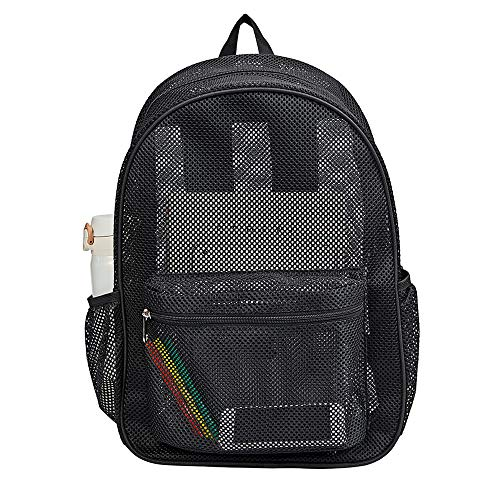 Heavy Duty Semi-Transparent Mesh Backpack, See Through College Student Backpack with Padded Shoulder Straps for Commuting, Swimming, Travel, Beach, Outdoor Sports