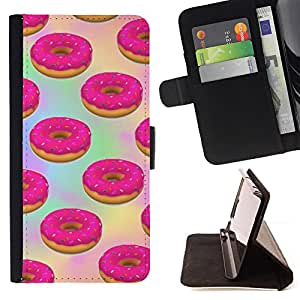 - doughnut pink sweets pastry baking - - Prima caja de la PU billetera de cuero con ranuras para tarjetas, efectivo desmontable correa para l Funny HouseFOR HTC One M9