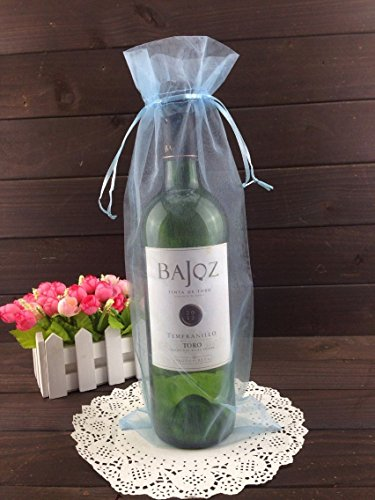 50pcs Organza Wine Bottle Cover Wrap Gift Bags Christmas/Wedding Plain Organza Pouch (Light blue)