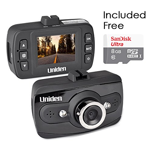 Uniden DCAM iWitness 1080p HD Dash Cam Night Vision with SanDisk 8GB microSDHC Bundle (Renewed)