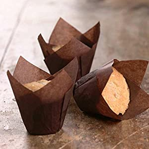 ThaiWow Tulip Baking Cups   Cupcake or Muffin Liners (Brown) 375 Count