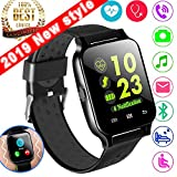 Synmila 1.54' Smartwatch Sport Fitness Tracker for Women Men with Blood Pressure Heart Rate Monitor Kid Health Monitor Activity Tracker Watch Pedometer Calorie BT Call SMS (Black.)