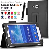onWay(TM) Premium Premium Folio Leather Case Cover for Samsung Galaxy Tab 3 Lite 7.0 SM-T110 / T111 7.0 Inch Android Tablet + Gift: free stylus touch pen X 1