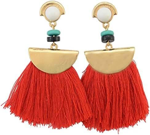 idealway Women's Girls Elegant Jewellery Bohemia Ethnic Tassels Dangle Stud Earrings Eardrop