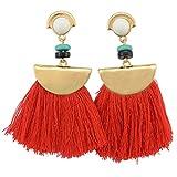 idealway Women's Girls Elegant Jewellery Bohemia Ethnic Tassels Dangle Stud Earrings Eardrop (Red)