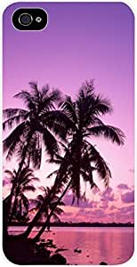 Purple Palm Tree Sunset- Case for the Apple Iphone 4-4s Universal- Hard White Plastic