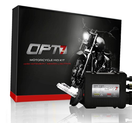 OPT7 Blitz 35w Harley-Davidson HID Kit w/ Relay and Capacitors - 5x Brighter - All Light Colors - Simple Install - 2 Yr Warranty [H4 Hi-Lo - 8000K Ice Blue]