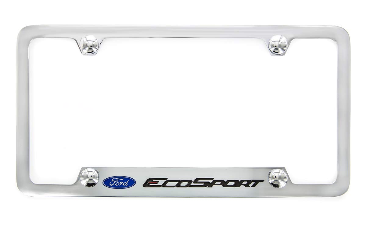 Ford EcoSport Chrome Plated Brass Metal License Plate Frame Wide Bottom Engraved 4 Hole