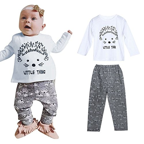 Hedgehog Outfits (Favorite baby 2PCS Baby Clothes Outfits Long Sleeve Baby Clothes Hedgehog Letters Print T-shirt Camo Pants Sets)