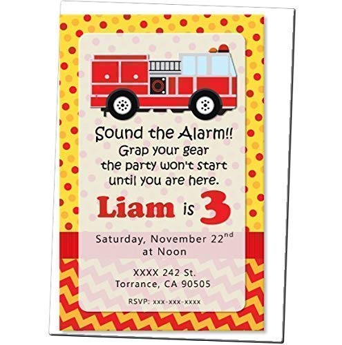 Personalized Firetruck, Fire Truck, Fire Engine Birthday Party Invitations - Optional Decorations Banner, Sign, Favor Tags, Thank You Cards ()