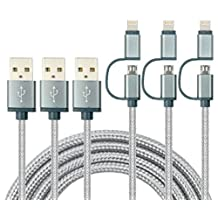 Charlemain 2-in-1 Lightning and Micro USB Cable [3 Pack 6 ft] Long Nylon Braided High Speed Sync and Charging Cable Cord for iPhone 7 6S 6 Plus/5s, iPad /iPod, Android Samsung, HTC, LG and More