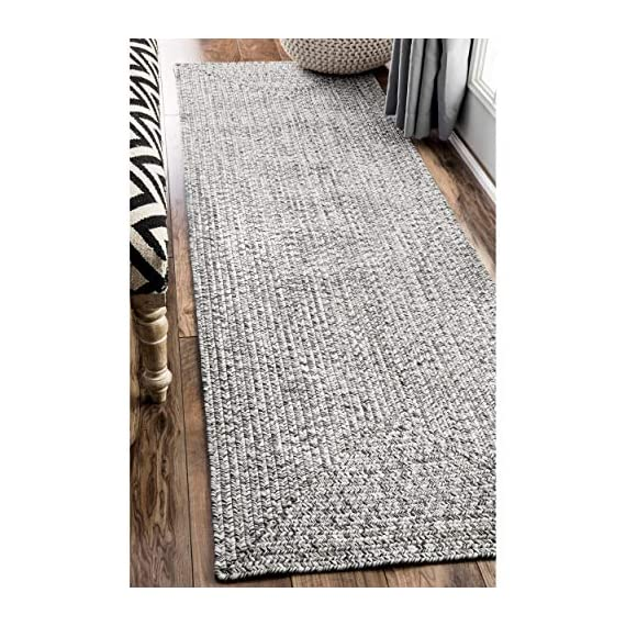 "nuLOOM Lefebvre Braided Indoor/Outdoor Runner Rug, 2' 6"" x 6', Salt and pepper - Style: Contemporary, Solid & Striped, Outdoor, Coastal Material: 100% Polypropylene Weave: Braided - runner-rugs, entryway-furniture-decor, entryway-laundry-room - 51D8Ez lCYL. SS570  -"
