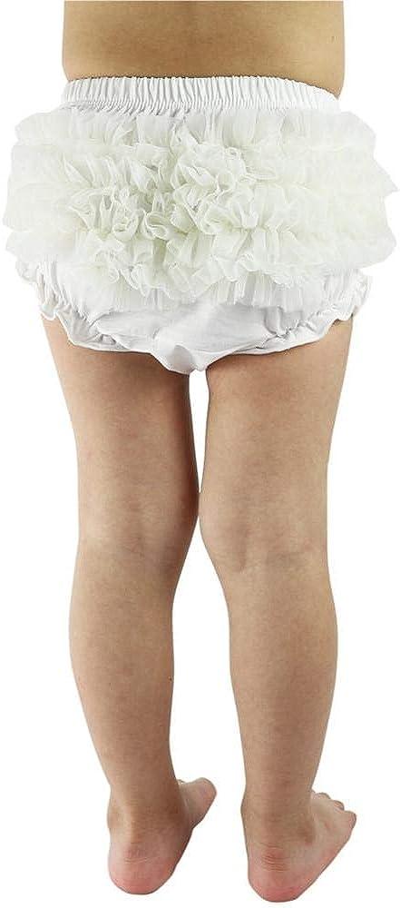 Wennikids Baby Girls Boys 3 Pack Cotton Chffion Ruffled Cute Diaper Covers Shorts Toddler Baby Bloomers