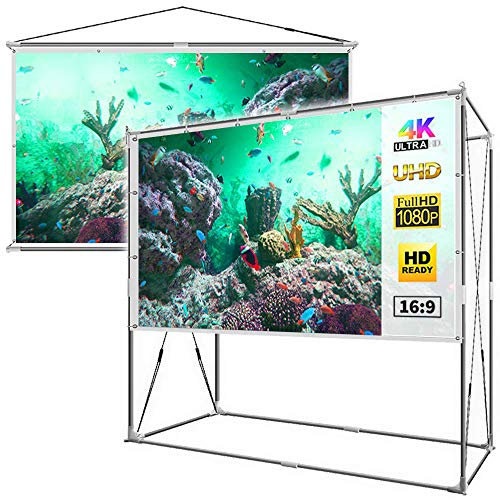 JaeilPLM 100-Inch 2-in-1 Portable Projector Screen, Outdoor Indoor Compatible with Rectangle Stand or Hanging Design Movie Projection for Home Theater, Gaming, Office(SQ100) (Best Home Theater Screen Size)
