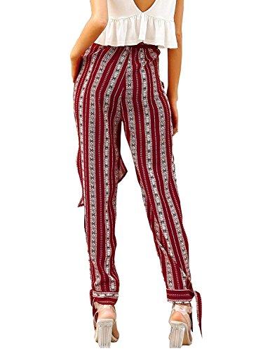 Bendare Donna Libero Estivi Spacco Tempo Elegante Moda Style Stampato Ragazze Festa Spiaggia Pantaloni Cintura Waist Inclusa Blumen Pantaloni Casual Pantalone High ZdxT4gq5wZ