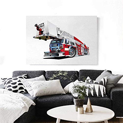 Truck Wall Paintings Firetruck Speeding to Danger Illustration Emergency Services Theme 911 Cartoon Print On Canvas for Wall Decor 32