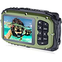 16MP 2.7 LCD Waterproof Digital Video Camera Mini Camcorder DV Underwater Max 10M Diving 8X Digital Zooming Face Detection - Camouflage