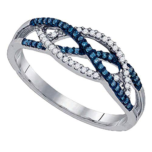 Crossover Diamond Blue - 10kt White Gold Womens Round Blue Color Enhanced Diamond Crossover Band Ring 1/5 Cttw