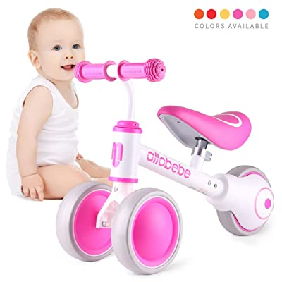 allobebe Baby Balance Bike, Cute Toddler Bikes 12-36 Months Gifts for 1 Year Old Girl Bike to Train Baby from Standing to Running with Adjustable Seat Silent & Soft 3 Wheels: Sports & Outdoors