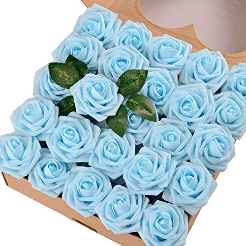 - Breeze Talk Artificial Flowers Light Blue Roses 50pcs Realistic Fake Roses w/Stem for DIY Wedding Bouquets Centerpieces Arrangements Party Baby Shower Home Decorations (50pcs Light Blue)
