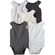 Carters Girls 5-Pack Short-Sleeve Safari Bodysuit
