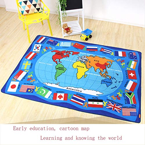 Encounter G Around The World Carpet Soft Toddler Learning Toys Ideal for Children Crawling and Sports Activities Blue Mats Cartoon World Map Mats,WorldMap1,133190CM by Encounter G (Image #3)