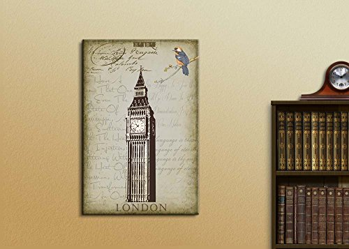 London's Big Ben Clock Placed onto a Background of Text and Vintage Accents