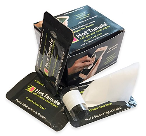 Phone Wipes, Antibacterial, Tablets, Computer Screens, Glasses, and More. Credit Card Size Packets Contain 5 Wipes. Repositionable 3M Adhesive Back Sticks to Any Surface.