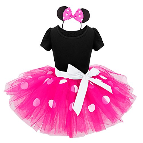 iEFiEL Baby Girls Polka Dots Tutu Dress with Ear Headband (12 Months, Hot Pink)