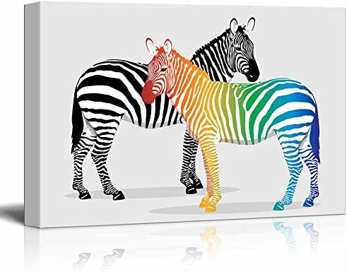 Zebras with Multi Colored Strips Wall Decor