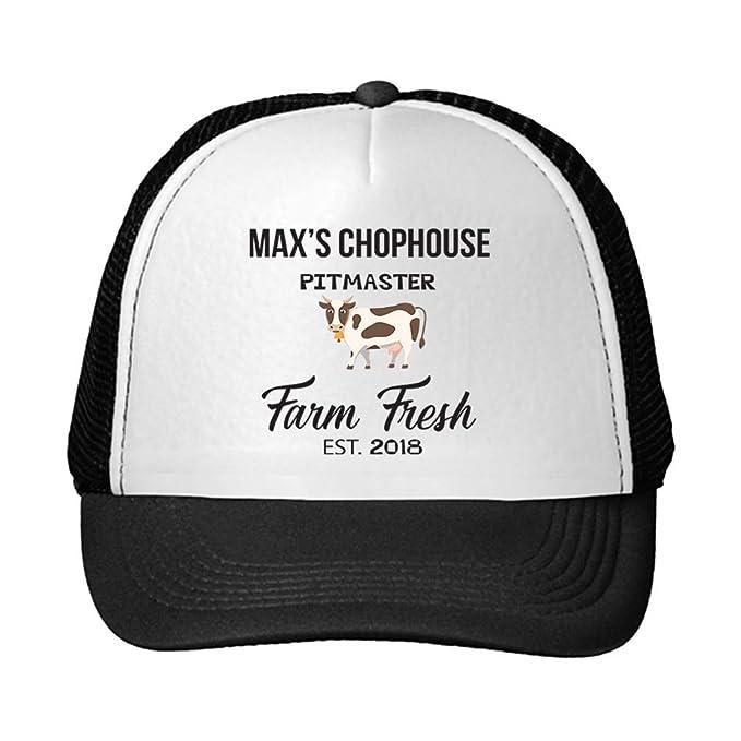 3eabbcf6477 Personalized Custom Text Chophouse Pitmaster Farm Fresh Cow Unisex Adult  Snaps Polyester Trucker Hat Adjustable Cap