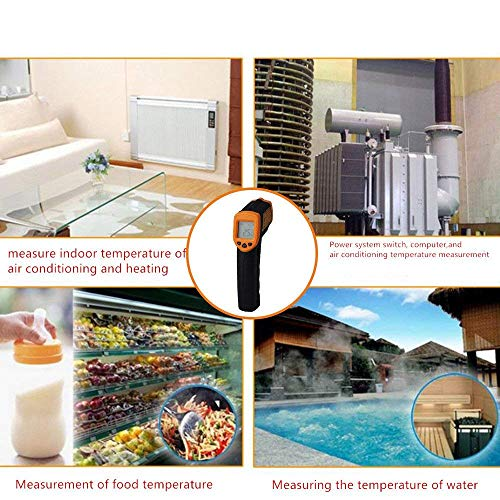 Infrared Thermometer IR Laser Thermometer Non-Contact Digital Temperature Gun -32°C~380°C (-26°F~608°F) Instant Read with Auto Shut-off Data Hold Function, LCD Backlight Display, Battery Included. by Junboys (Image #1)