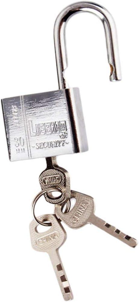 Sunnyflowk 3 llaves Uso duradero Servicio pesado Alta seguridad Cerradura s/ólida Puerta Puerta Caja Seguridad Candado de acero inoxidable plateado
