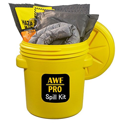 "20 Gallon Universal Spill Kit Includes Overpack Drum,12 Pads 15""x19"", 3 Socks 3""x12', 2 Pillows 18""x18"", Chemical Gloves, 3 Hazmat Bags, Safety Goggles, Emergency Guide Book,Spill Kit Sign (Overpack Spill Kit)"