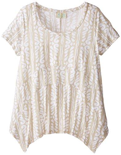 caribbean-joe-womens-plus-size-printed-uneven-hem-scoop-neck-short-sleeve-top-khaki-sand-2x