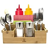 Sorbus Bamboo Utensil Caddy — Silverware Caddy Napkin Holder and Condiment Organizer — Multi-Purpose Wooden Caddy—Ideal for Kitchen, Dining, Buffet, Tailgating, Picnics, etc