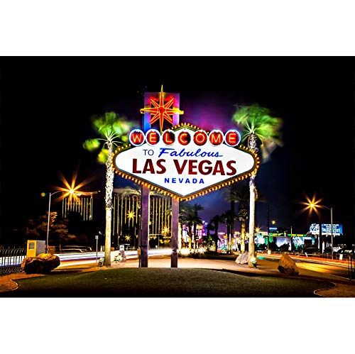 Yeele 10x8ft Photography Background Las Vegas City Night Landscape Fabulous American Landmark Nevada Casino Gambling Town Cloth Vinyl Photo Booth Backdrop Wallpaper ()