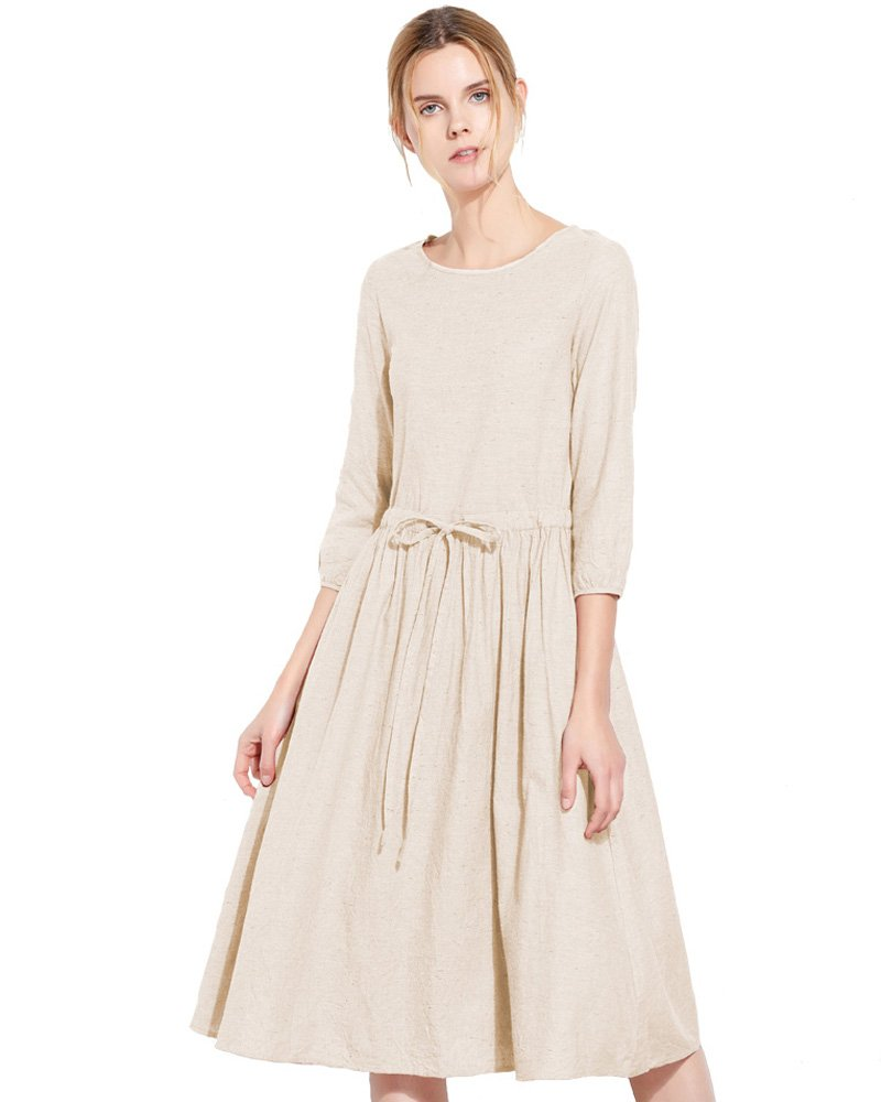 UAISI Women's Casual Cotton Scoop Neck Dress Summer Midi A-Line Dress Slim fit (M, B-Beige-3/4Sleeve)