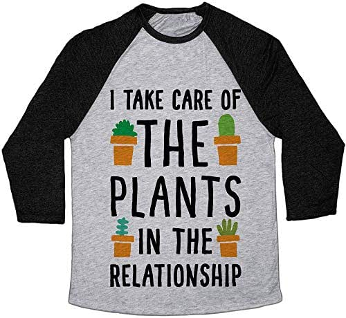 LookHUMAN I Take Care of The Plants in The Relationship Athletic Gray/Black Tri-Blend Baseball Tee