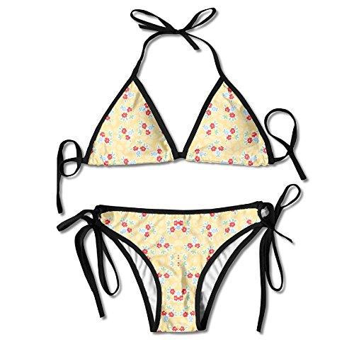 3D Flower Print Evelyn Buttercup Fabric (5734) Custom Sexy Beach Swimwear Women's Triangle Bralette Bikini Set Of 2