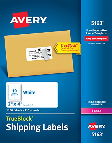 Laser White Mailing Labels - Avery Shipping Address Labels, Laser Printers, 1,150 Labels, 2x4 Labels, Permanent Adhesive, TrueBlock (5163)