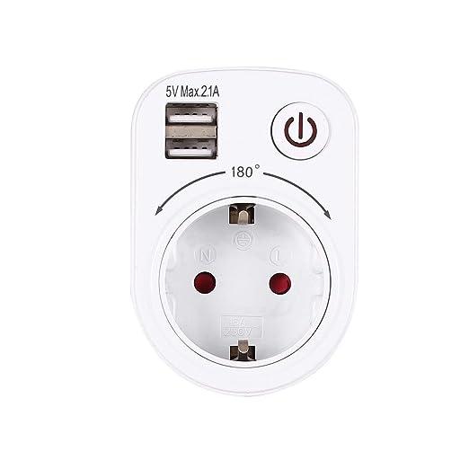 Gugutogo 5V 2.1A el/éctrico con doble puerto USB cargador adaptador de enchufe de la UE inteligente Plug-in z/ócalo de pared de carga Interruptor de salida del recorrido del hogar blanco de la UE