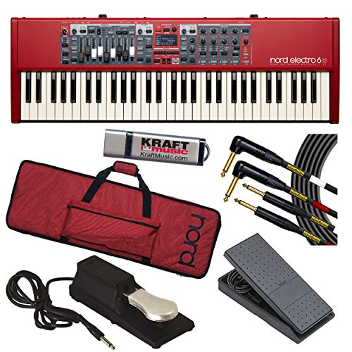 Nord Electro 6D 61 with Nord GB61 Gig Bag, Mogami Dual Instrument Cable, Expression Pedal, Piano-Style Sustain Pedal and Flash Drive