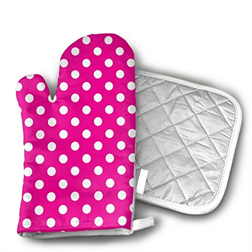 Pink White Polka Dot Oven Mitts and Pot Holders Set with Polyester Cotton Non-Slip Grip, Heat Resistant, Oven Gloves for BBQ Cooking Baking, ()