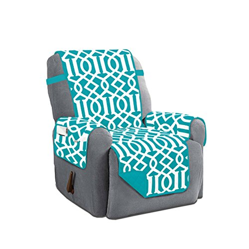 Dallas Reversible Solid/Print Microfiber Quilted Furniture Protector Slipcover With Strap & Side Pockets (Recliner, Turquoise) (Turquoise Leather Recliner)